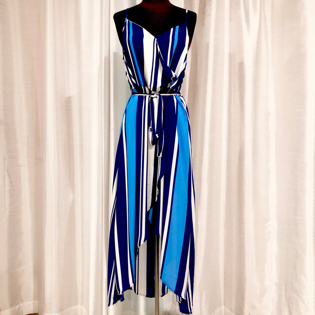 BOUTIQUE Blue & White Striped Sundress Size 8 NWT
