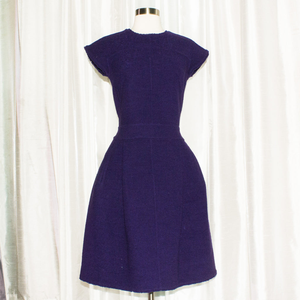 OSCAR DE LA RENTA Purple Tweed Knee Length Dress Size 6