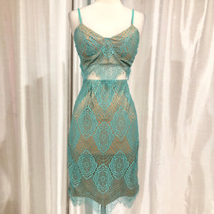 LULU'S Star Of The Stage Sea Green Lace Two Piece Dress Size M