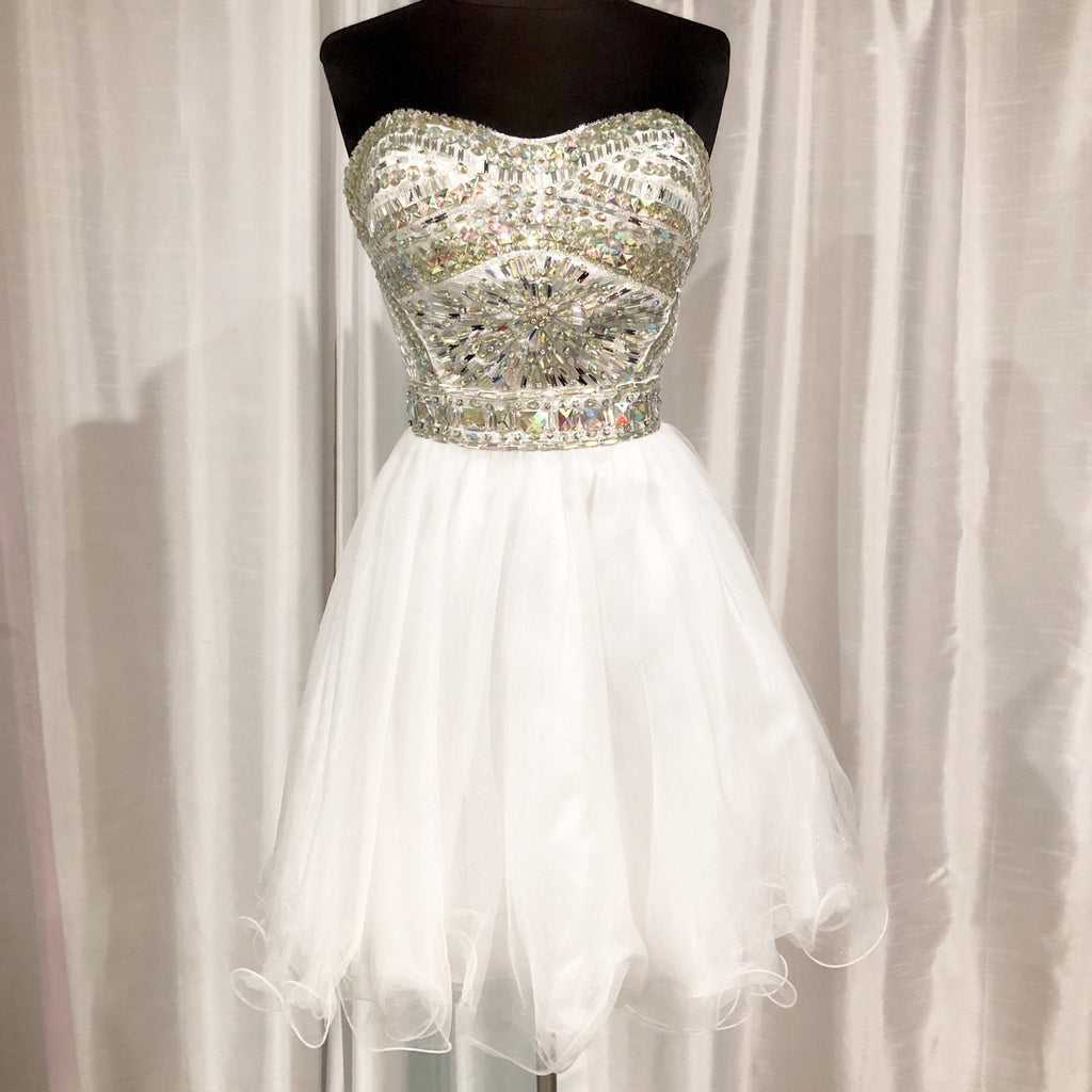 TONY BOWLS Short White Strapless Gown Size 10