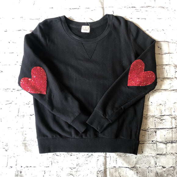 Boutique Sequin Heart Crewneck Sweatshirt Size S