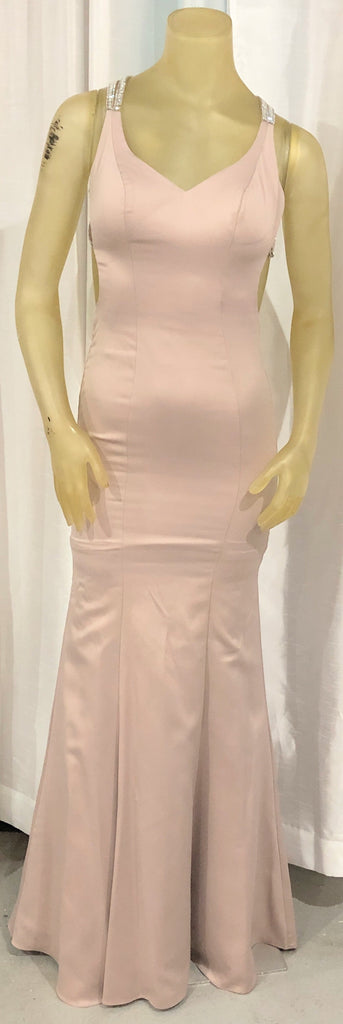 LA FEMME Champagne Satin Long Dress Size 00