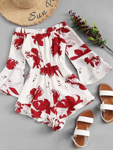 BOUTIQUE White & Red Floral Print Romper NWT