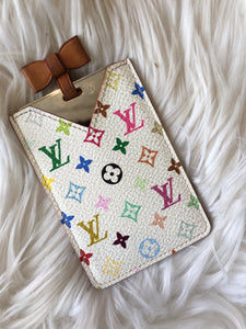 LOUIS VUITTON White Multi-Colore Monogram Leather Compact Mirror- 2003 Edition