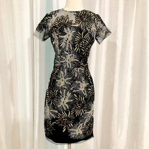 SABLE + ZOE Short Black Embroidered Gown Size S