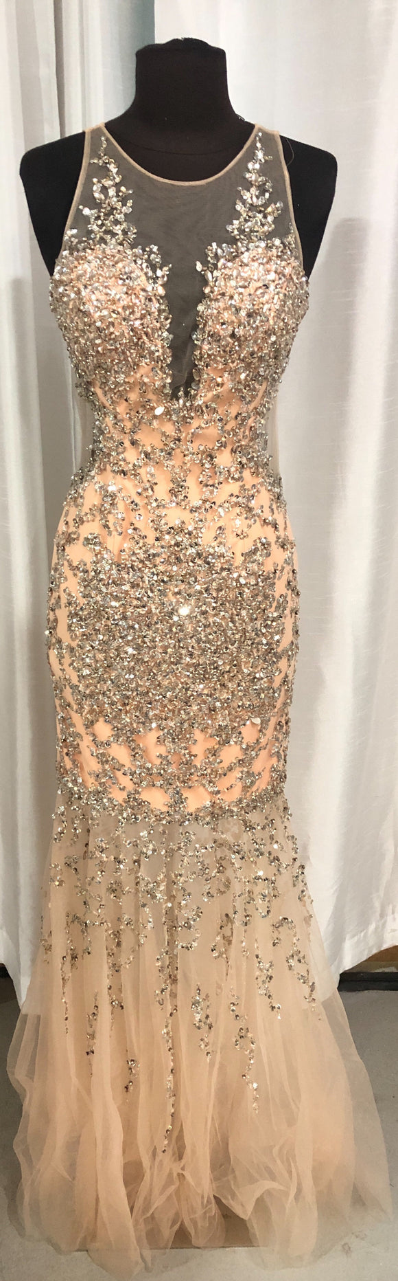 JOVANI Long Peach & silver Embellished Mermaid Gown Size 4