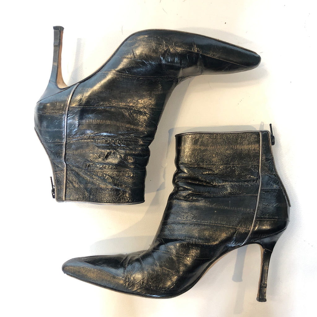 Manolo Blahnik Eel Skin Ankle Boot Pointy Toe Size 40 (9)