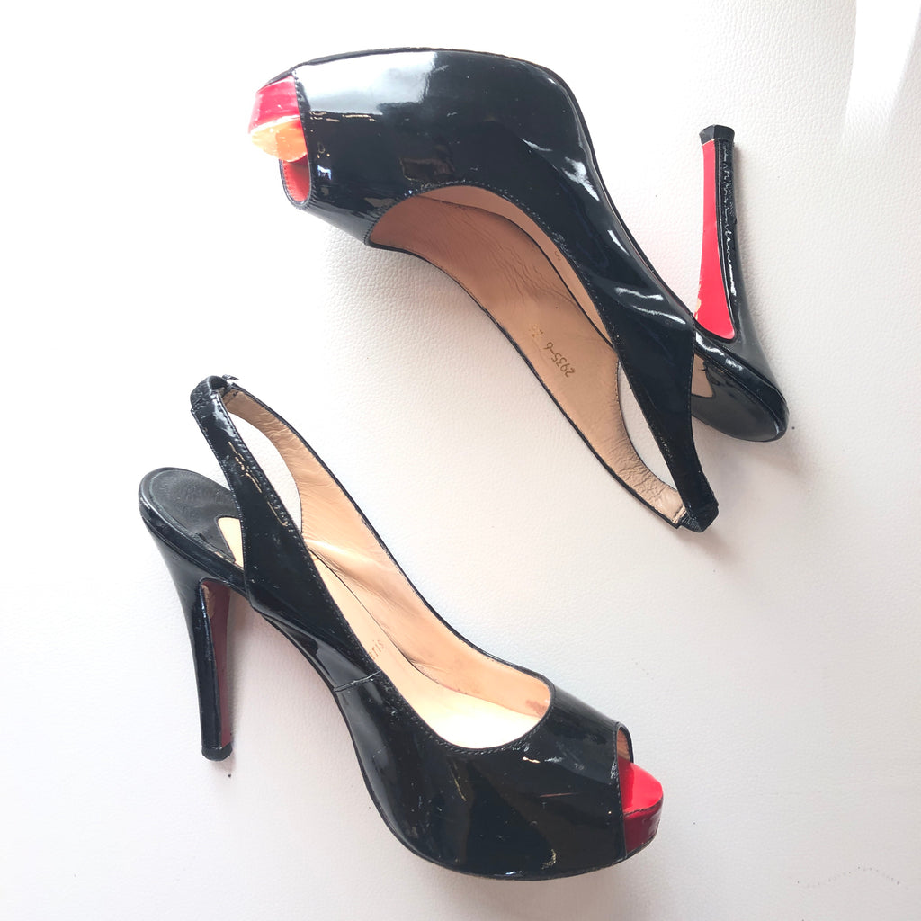 Christian Louboutin Black Private Number Peep Toe Pump Size 36