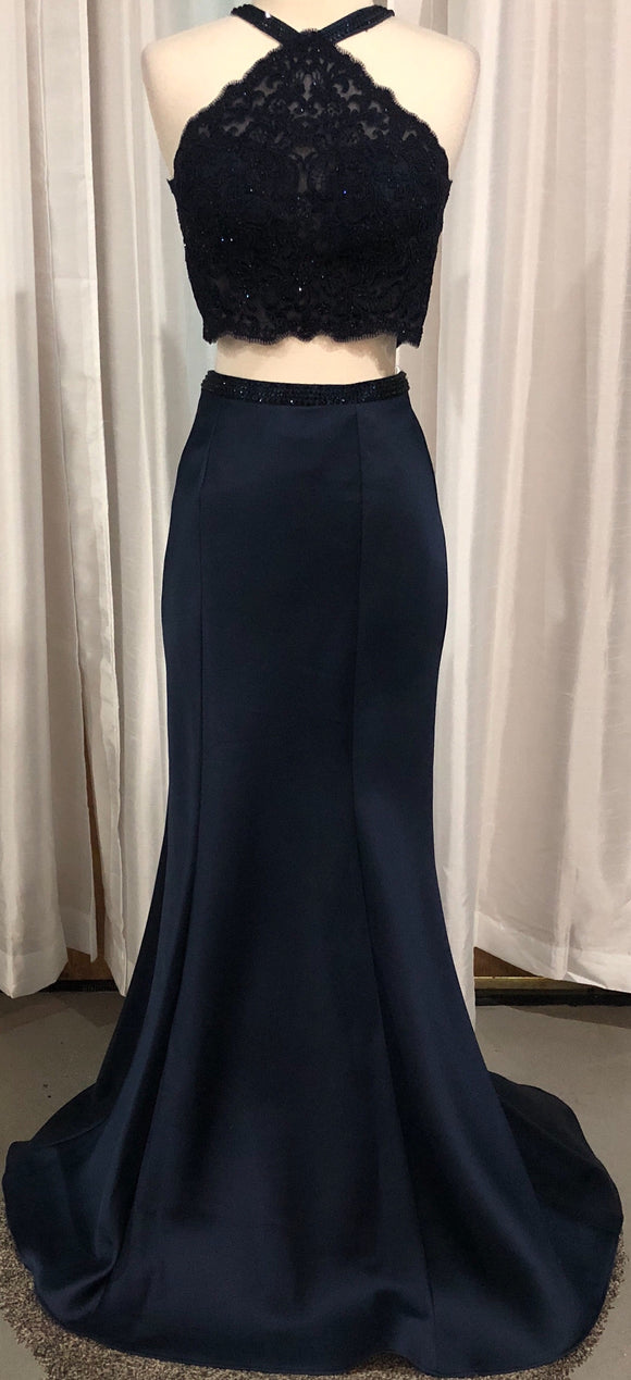GiGi Designs By La Femme Navy Long Two Piece Size 4