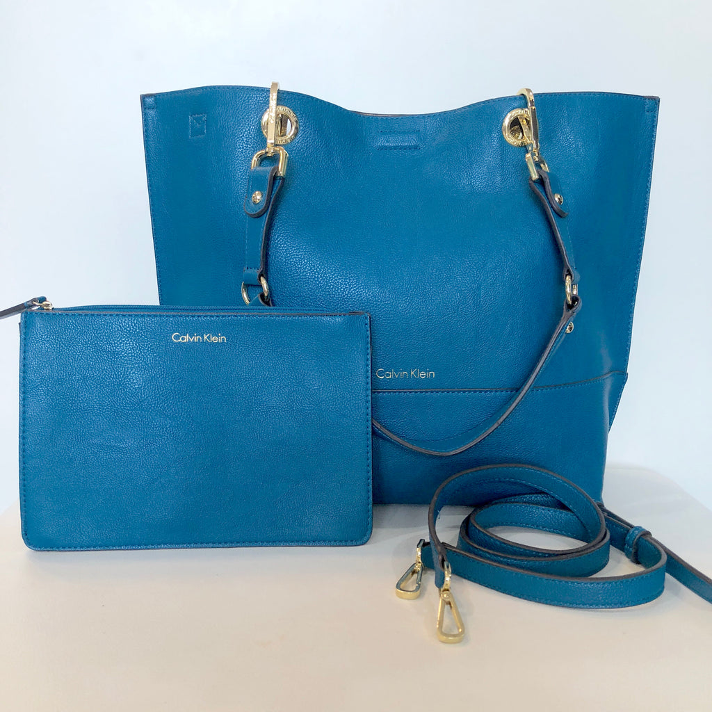 CALVIN KLEIN Gold & Turquoise Sonoma Reversible Tote & Pouch NWOT