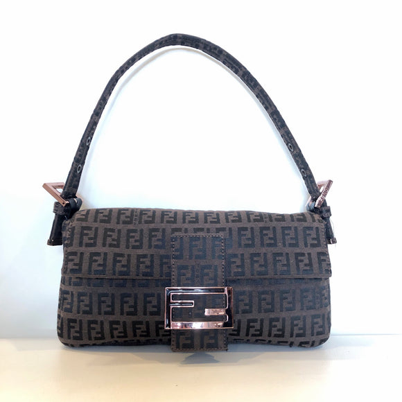 FENDI VINTAGE ZUCCHINO CANVAS BAGUETTE BROWN MONOGRAM