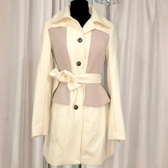 ANTHROPOLOGIE Elevenses Cream & Lilac Colette Trench Coat Size 4