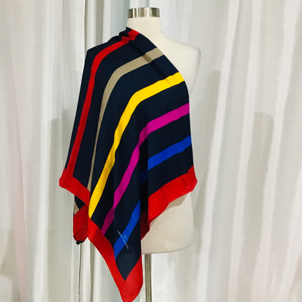 VALENTINO GARAVANI Silk Multi-Color Striped Scarf