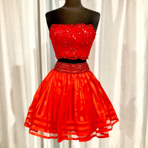 RACHEL ALLAN Short Red Strapless Two Piece Gown Size 2