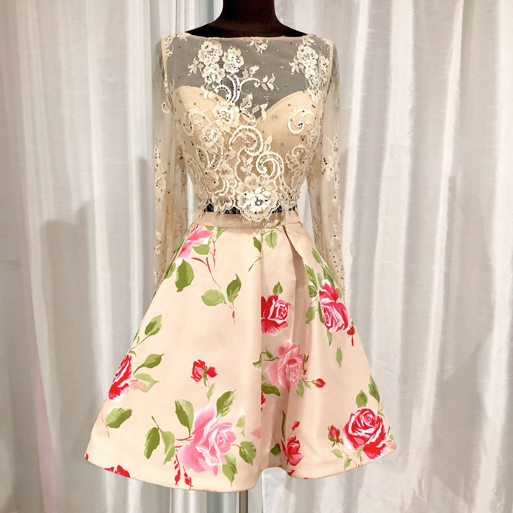 SHERRI HILL Short Nude & Floral Two Piece Gown Size 12