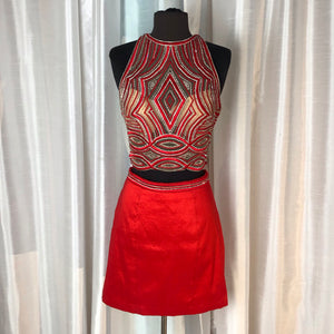 MORI LEE  Red Short Two Piece Size 6