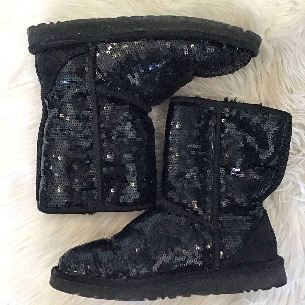 UGG CLASSIC BLACK SEQUIN SIZE 6 BOOTS