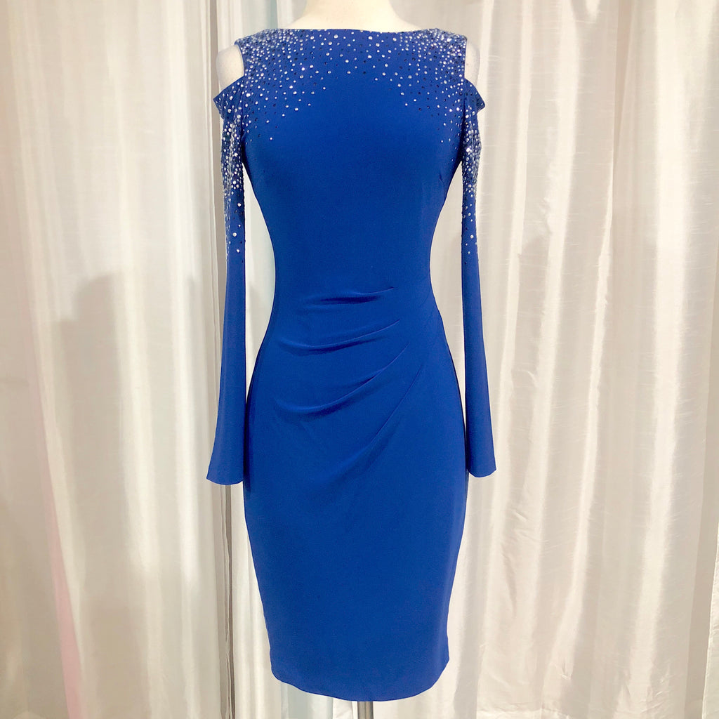 Cache Short Royal Blue Long Sleeve Gown Size 0