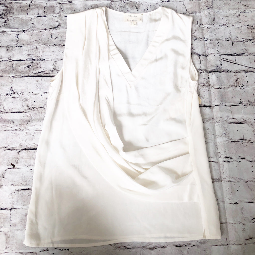 NICOLE MILLER ARTELIER Liam Draped Front Sleeveless Top Size M NWT