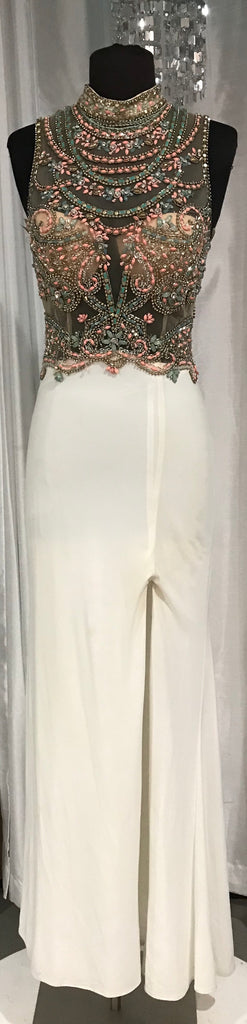 Boutique Long White Gown With Sheer Bodice and Beading Size 6