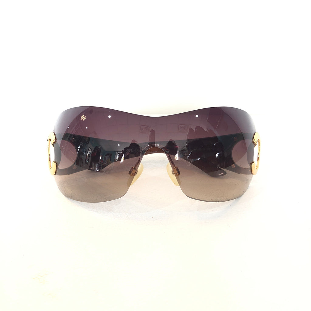 CHANEL Brown & Gold CC Logo Shield Sunglasses