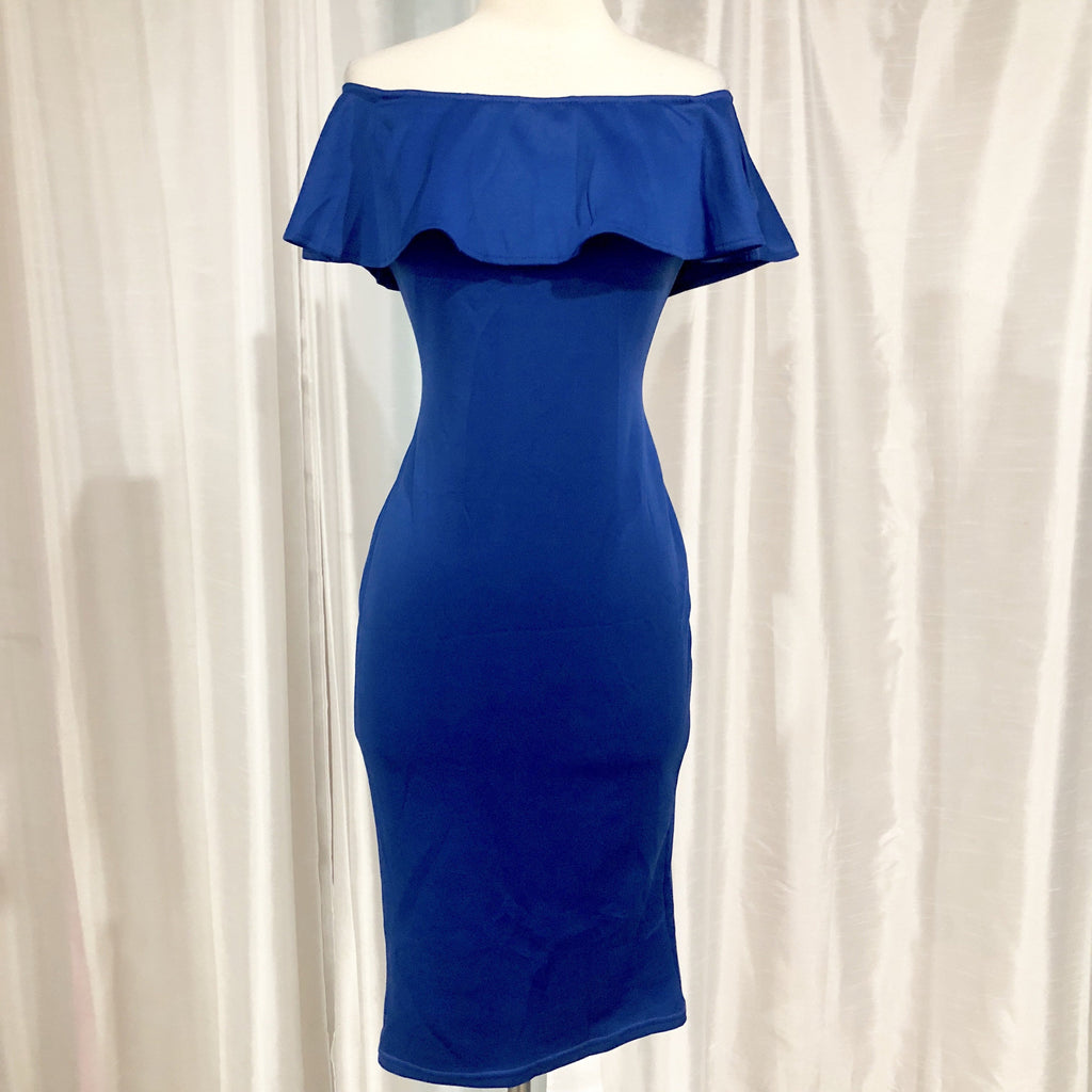 BOUTIQUE Royal Blue Tea Length Dress Size S