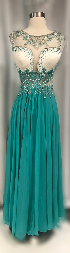 RACHEL ALLAN Long Soft Jade & White Gown Size 4