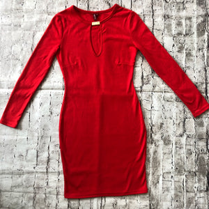 BOUTIQUE Long Sleeve Short Red Dress Size S NWOT