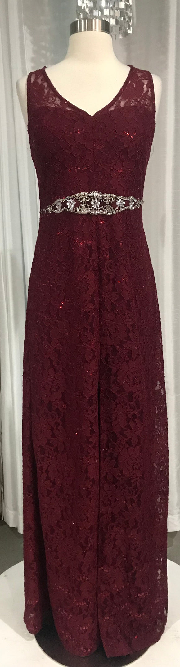 MYMICHELLE Sparkly Maroon Lace Gown With Beaded Waistline Size 13