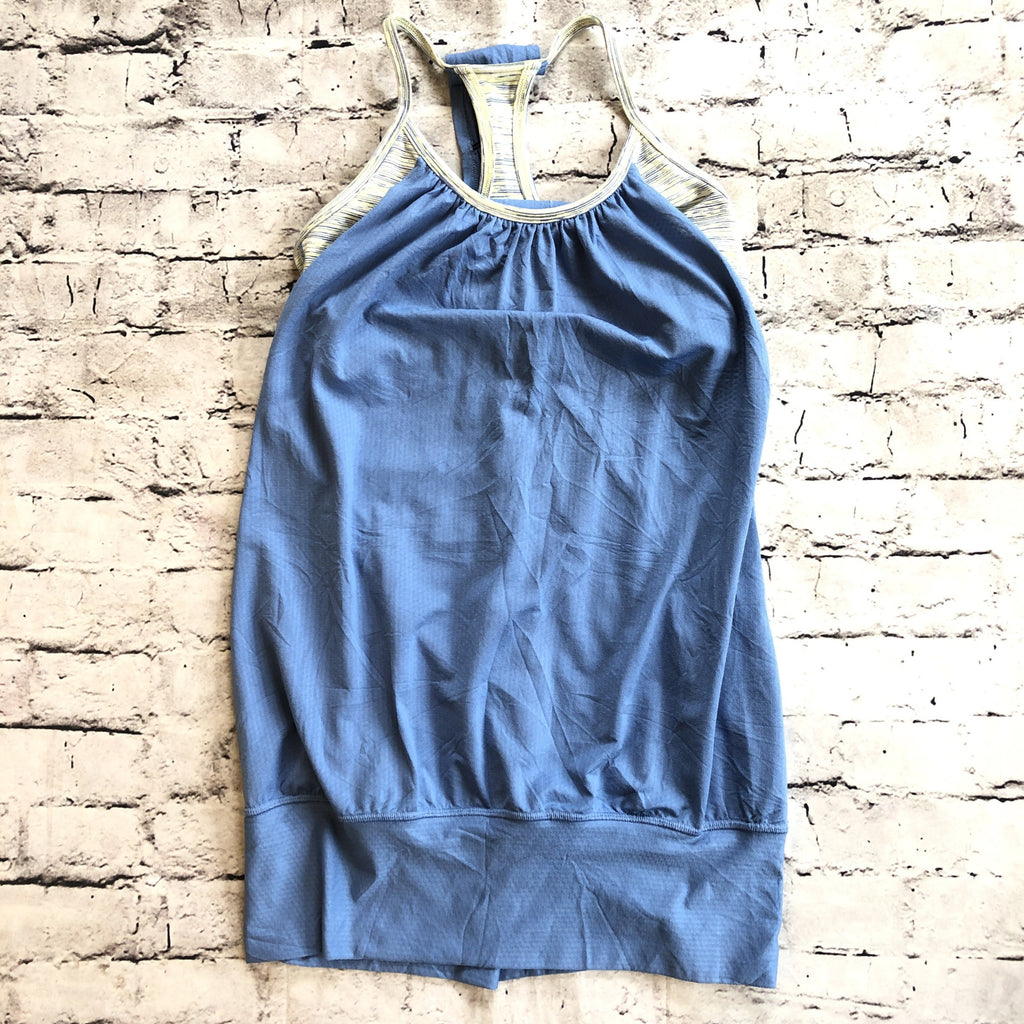 LULULEMON Blue Razor Back Tank With Built In Bra Size 4