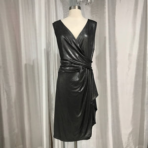 CHAPS Short Metallic Gunmetal Dress Size 18