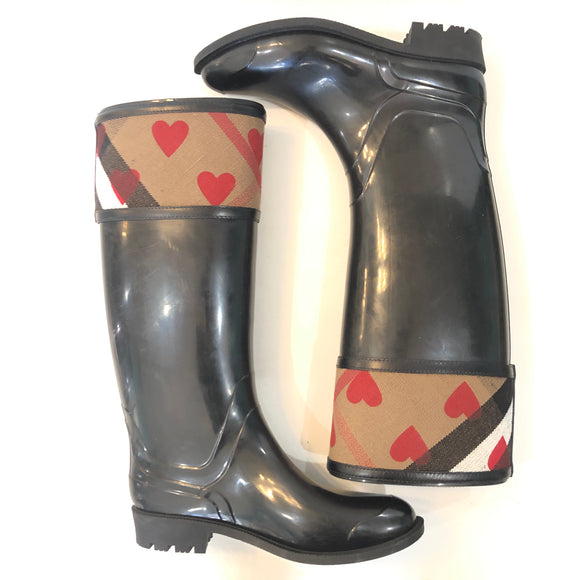 BURBERRY Black Crosshill Heart Rain Boots