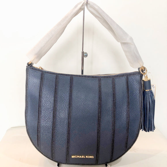 MICHAEL KORS Navy Brooklyn Applique Large Shoulder Bag NWT