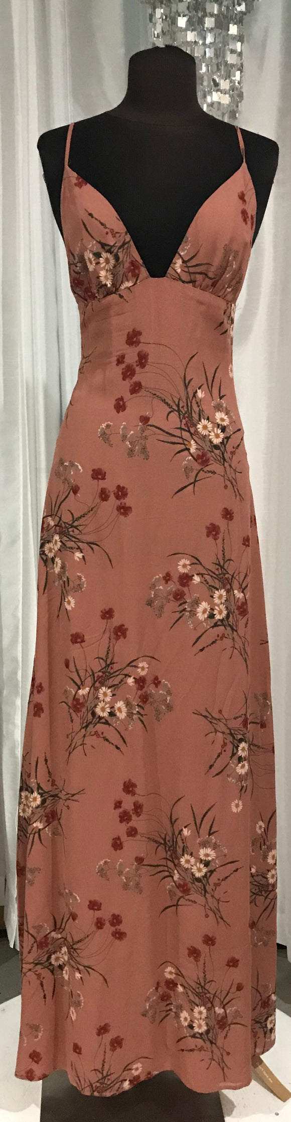 BOUTIQUE Rust Maxi Dress With Floral Design Size 4
