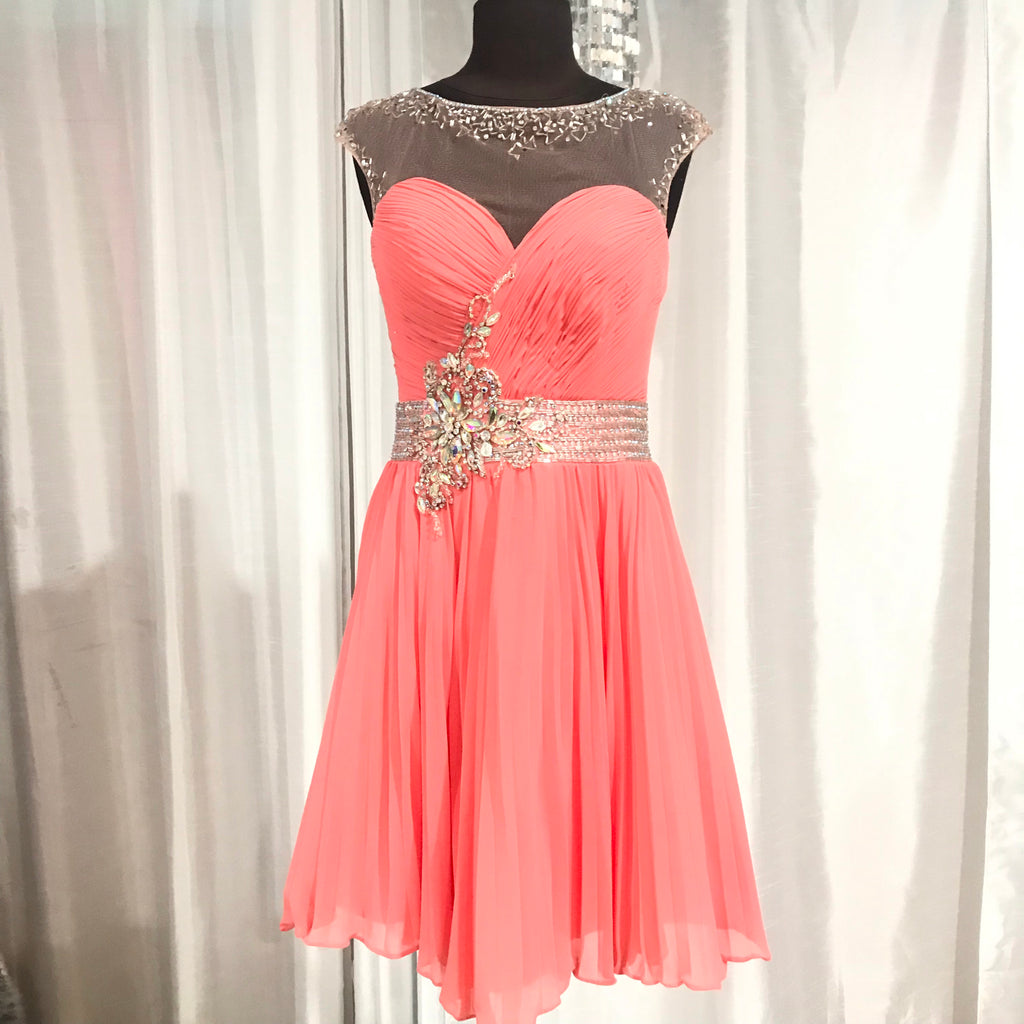 TONY BOWLS Short Coral Beaded Gown Size 6