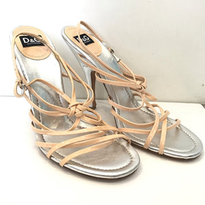 DOLCE & GABBANA Nude And Silver Strappy Heels Size 40