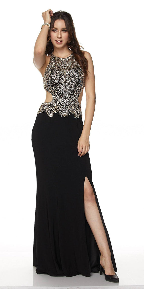JULIET Black Embellished Long Cut Out Gown Size M