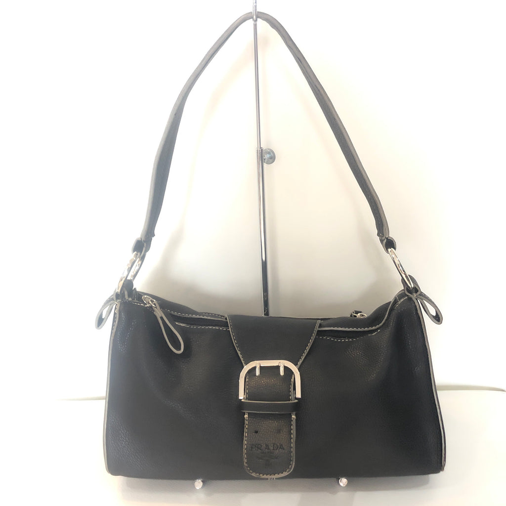 PRADA Vintage Black Leather Shoulder Bag