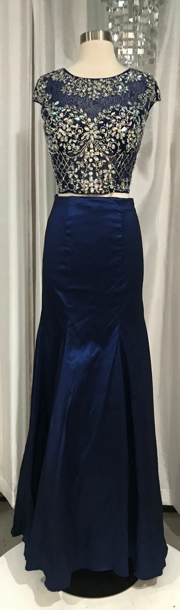 BOUTIQUE Long Navy Two Piece Gown With Beaded Top Size 10