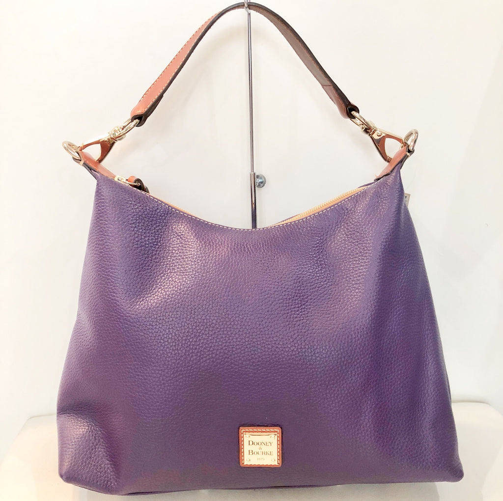 DOONEY & BOURKE Purple Pebble Leather Juliette Hobo Handbag