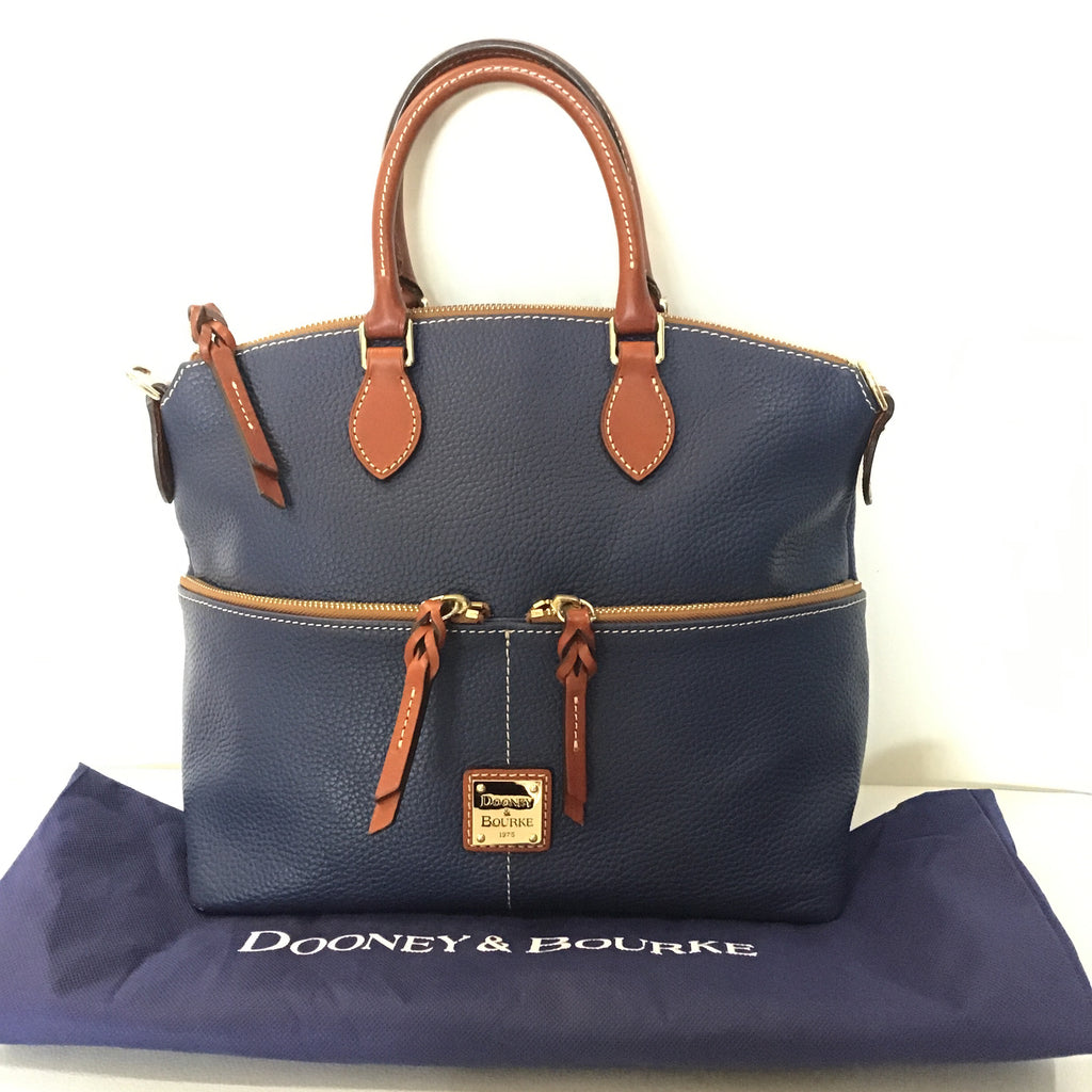 DOONEY & BOURKE Navy Pebble Grain Double Pocket Satchel Handbag