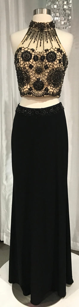 BOUTIQUE Long Black and Nude Two Piece Gown Size Medium