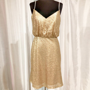 BARI JAY Short Gold Sequin Dress Size 6