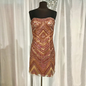 SHERRI HILL Short Nude & Ruby Strapless Gown Size 6