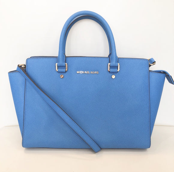 MICHAEL KORS Selma Heritage Blue Leather Satchel Handbag