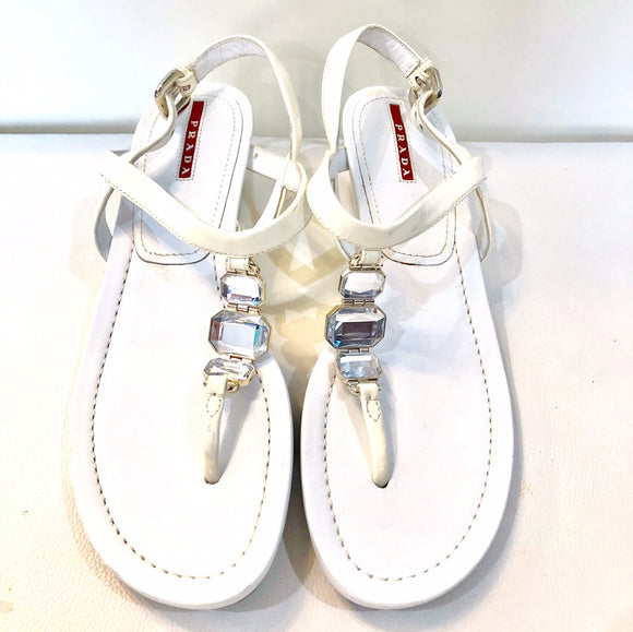 PRADA Crystal Embellished Wedged Sandal Size 39.5 (9.5)