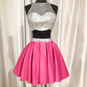 BLUSH PROM Short Hot Pink & White Two Piece Gown Size 0