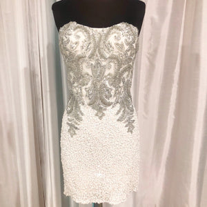 SCALA Short Strapless White & Silver Gown Size 4