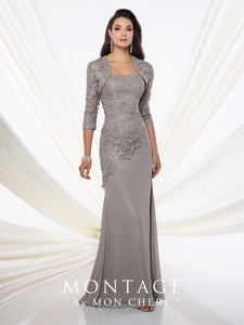 MONTAGE By MON CHERI Long Gray Gown Size 18