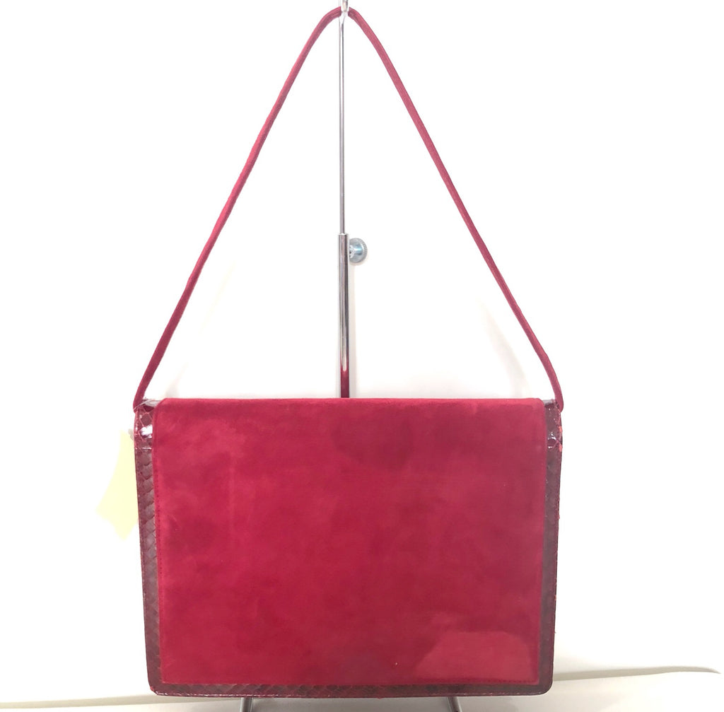 SAKS FIFTH AVENUE Red Suede Shoulder Bag